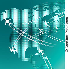 Map of North America with airplanes for travel industry...