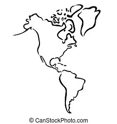 map of North and South America - outline of North and South ...