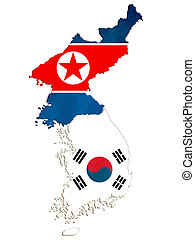 Map of North and South Korea on a white background