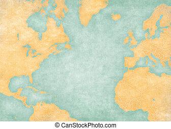 Map of North Atlantic - Blank map (Vintage Series) - Blank...