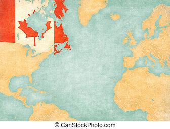 Map of North Atlantic - Canada