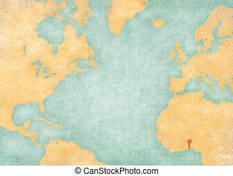 Map of North Atlantic Ocean - Benin