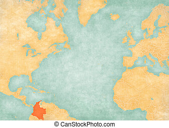 Map of North Atlantic Ocean - Colombia