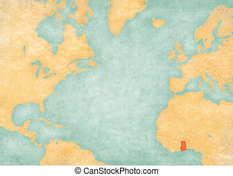 Map of North Atlantic Ocean - Ghana