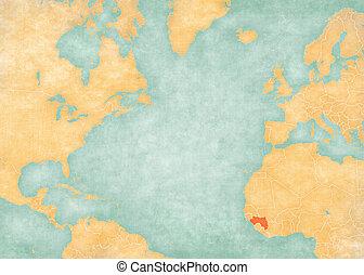 Map of North Atlantic Ocean - Guinea