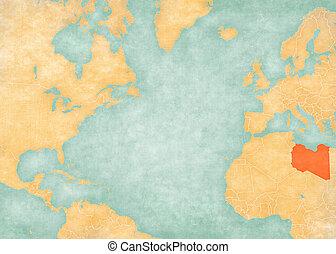 Map of North Atlantic Ocean - Libya