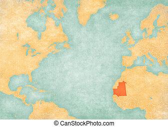 Map of North Atlantic Ocean - Mauritania