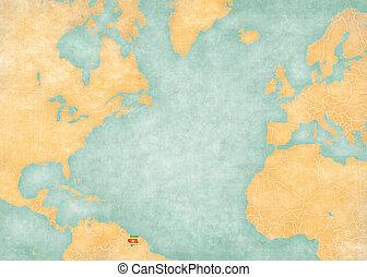 Map of North Atlantic - Suriname