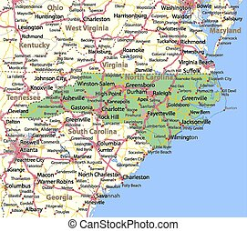 Map of North Carolina. Shows state borders, urban areas, place names, roads and highways. Projection: Mercator.
