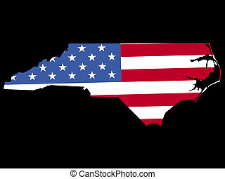 Map of North Carolina with flag