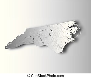 Map of North Carolina with lakes and rivers. - U.S. states -...