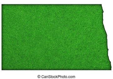 Map of North Dakota on green felt