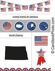 Map of North Dakota. Set of flat design icons nfographics elemen