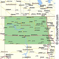 Map of North Dakota. Shows state borders, urban areas, place names, roads and highways. Projection: Mercator.