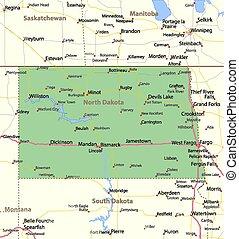 North Dakota - Map of North Dakota. Shows state borders, ...