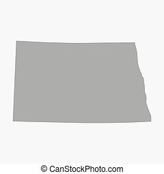 Map of North Dakota State in gray on a white background