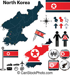 Map of North Korea - Vector of North Korea set with detailed...