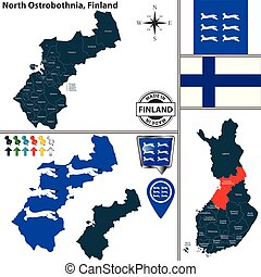 Map of North Ostrobothnia, Finland - Vector map of North...