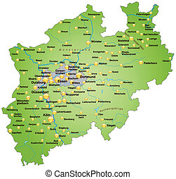 Map of North Rhine-Westphalia as an overview map in green