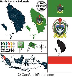 Map of North Sumatra, Indonesia - Vector map of region North...