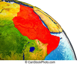 Northeast Africa Highlighted on 3D Earth model with water and visible country borders. 3D illustration.