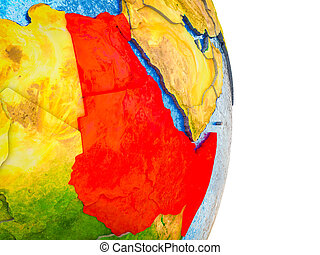 Northeast Africa on 3D model of Earth with divided countries and blue oceans. 3D illustration.
