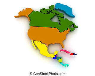 Map of northern america. 3d