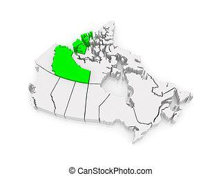 Map of Northwest Territories. Canada.