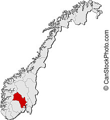 Political map of Norway with the several counties where Buskerud is highlighted.