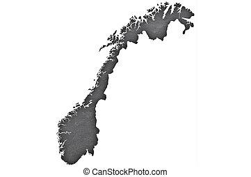 Map of Norway on dark slate
