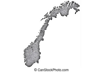 Map of Norway on weathered concrete