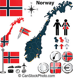 Map of Norway - Vector of Norway set with detailed country...