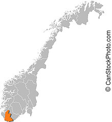 Map of Norway, Vest-Agder highlighted - Political map of...