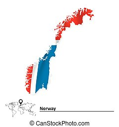 Vectors Illustration Of Norway Map With Fylke Of Black Contour - Norway map fylke