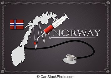 Map of Norway with Stethoscope and syringe.