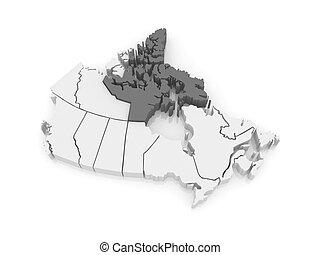 Map of Nunavut. Canada.