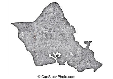 Map of Oahu on weathered concrete