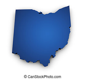 Shape 3d of Ohio map colored in blue and isolated on white background.