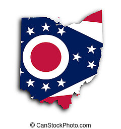 Map of Ohio, filled with the state flag