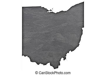 Map of Ohio on dark slate