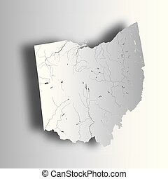 Map of Ohio with lakes and rivers.