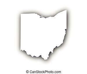Map of Ohio with shadow