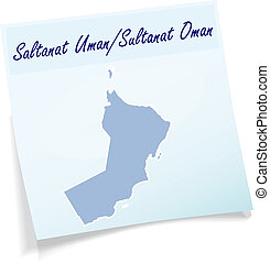 Map of Oman as sticky note
