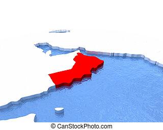 Map of Oman on globe