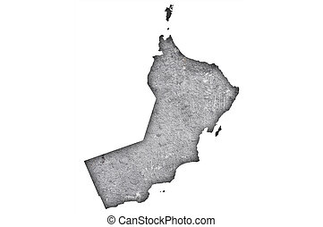 Map of Oman on weathered concrete