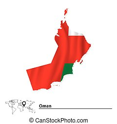 Map of Oman with flag