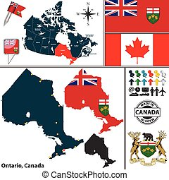 Map of Ontario, Canada - Vector map of state Ontario with...
