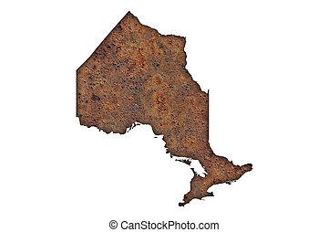 Map of Ontario on rusty metal