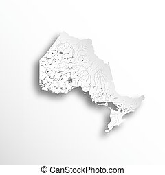 Map of Ontario with rivers and lakes.