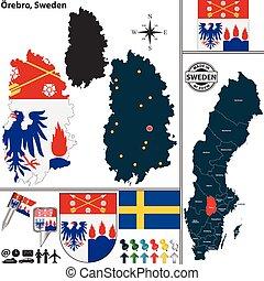 Map of Orebro, Sweden